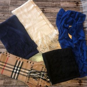 Lot of 5 fall winter scarves fringe acrylic